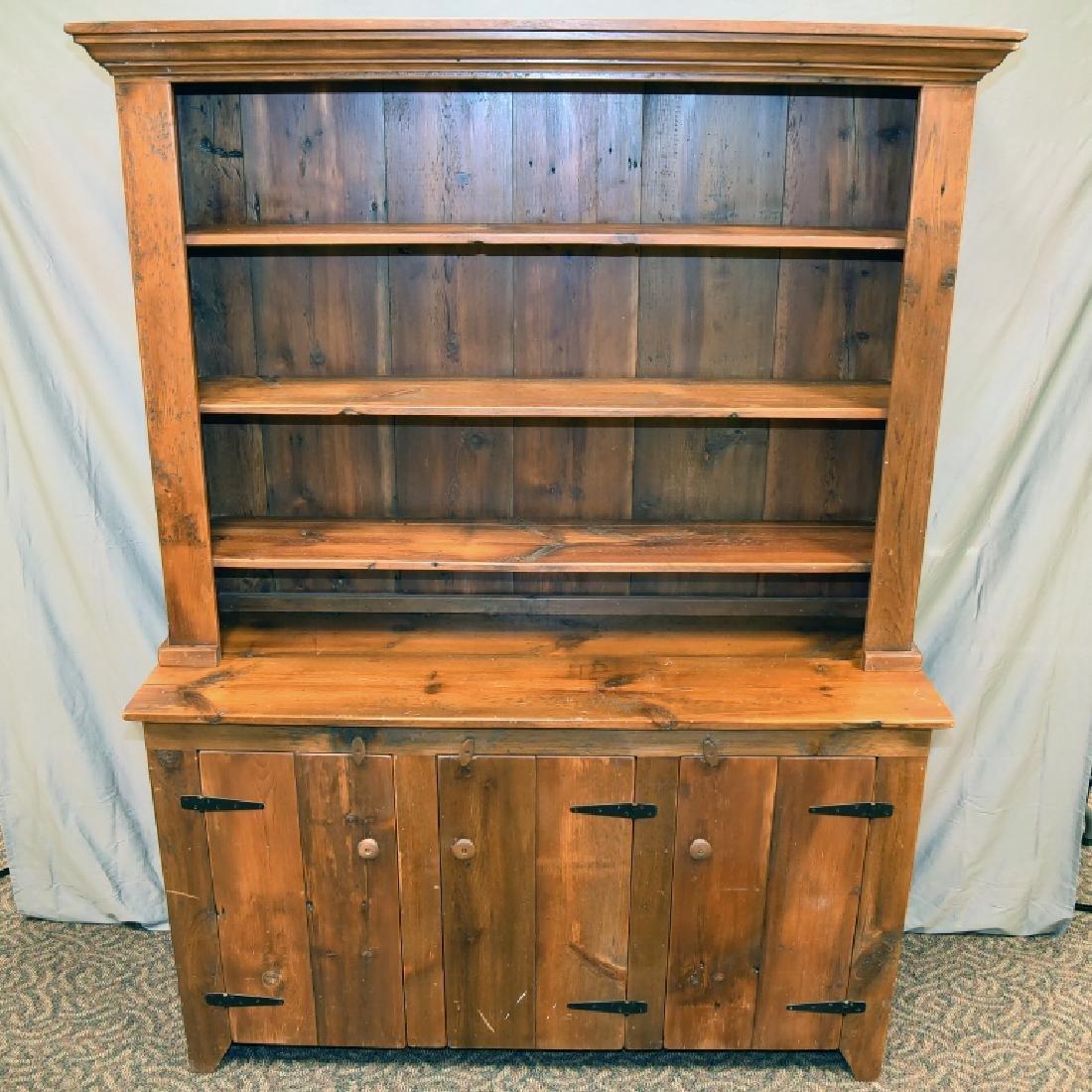 Large Primitive Pine Stepback Cupboard