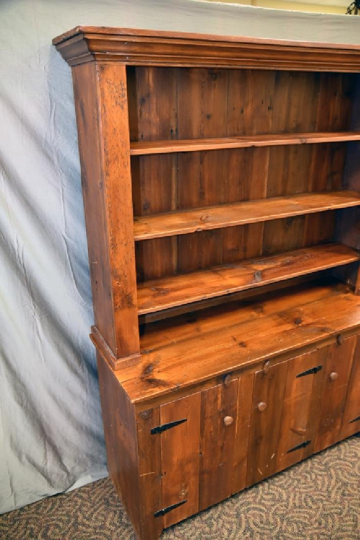 Large Primitive Pine Stepback Cupboard - 2