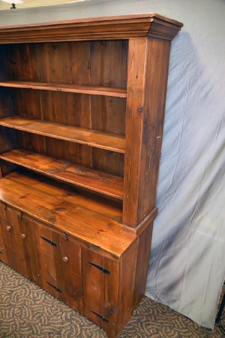 Large Primitive Pine Stepback Cupboard - 3