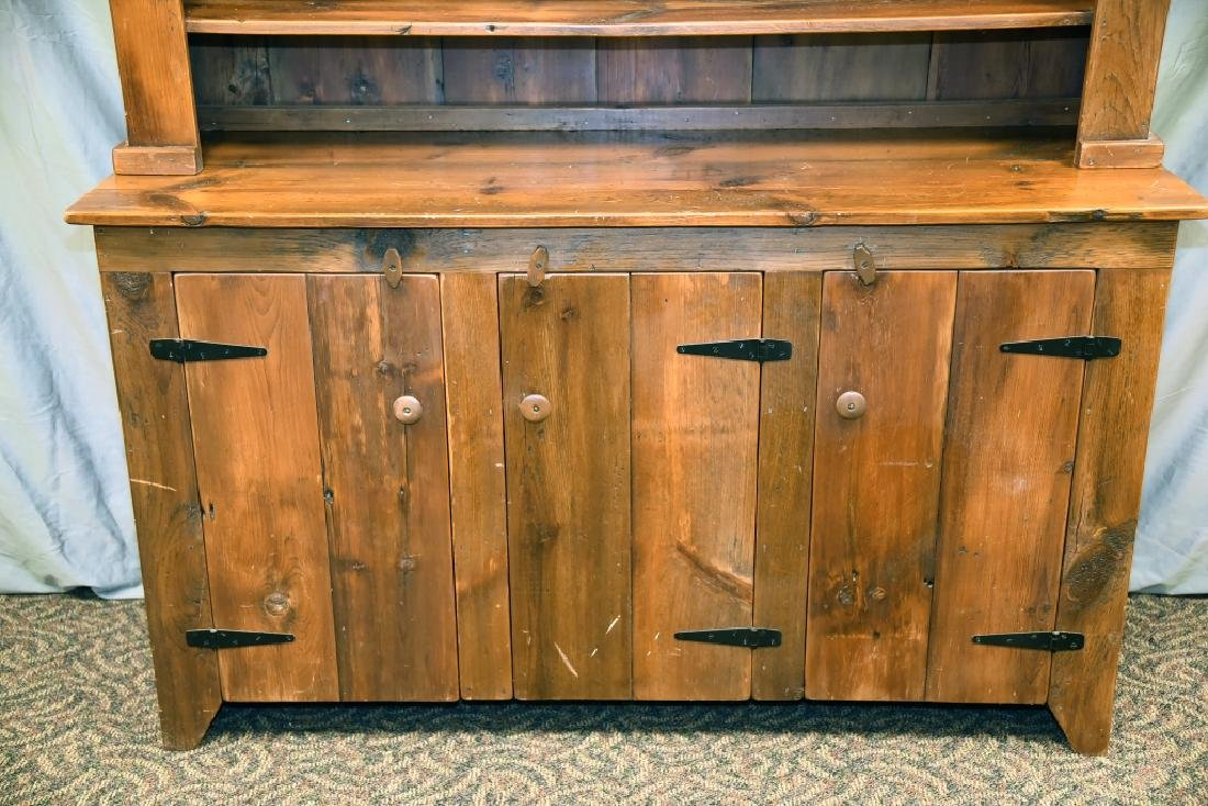 Large Primitive Pine Stepback Cupboard - 6