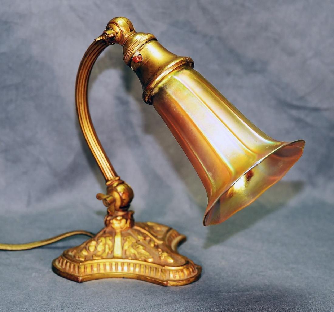 Signed Loetz Art Glass Shade on Bellova Desk Lamp