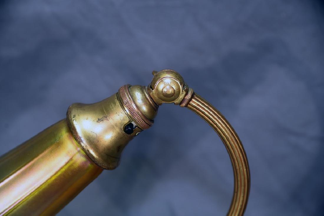 Signed Loetz Art Glass Shade on Bellova Desk Lamp - 9