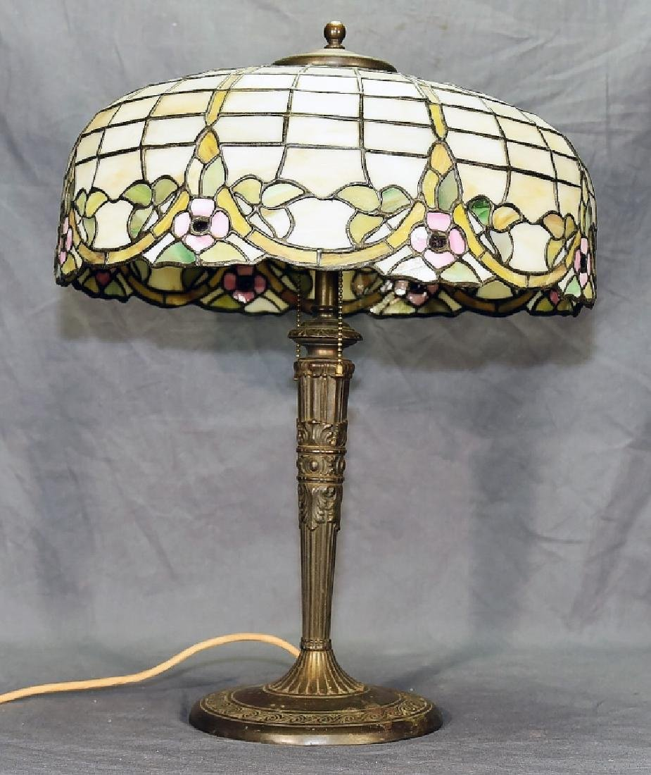 Circa 1920s Leaded Glass Table Lamp