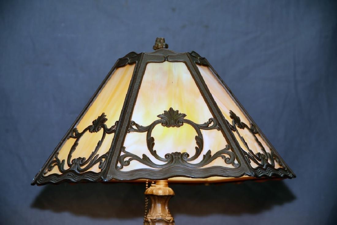 6 Panel Caramel Slag Glass Lamp - 2