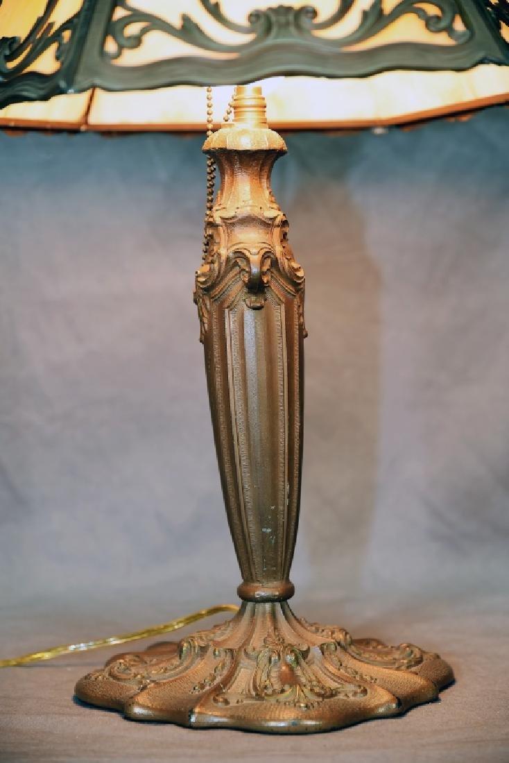 6 Panel Caramel Slag Glass Lamp - 3