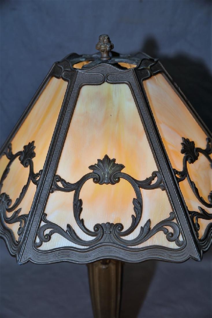 6 Panel Caramel Slag Glass Lamp - 5