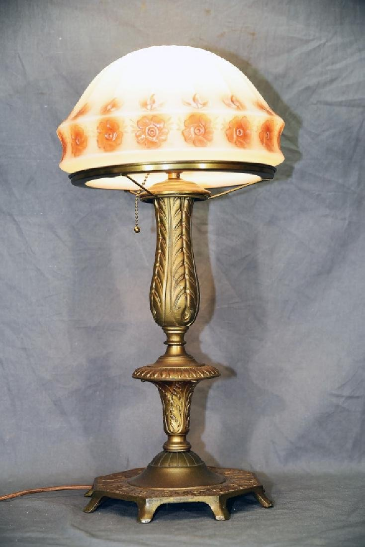 Vintage Cast Metal Table Lamp Domed Glass Shade