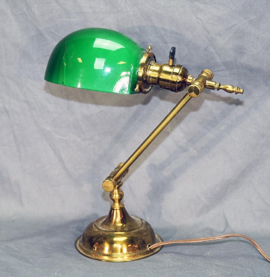 Vintage Brass Desk Lamp Green Glass Shade - 2