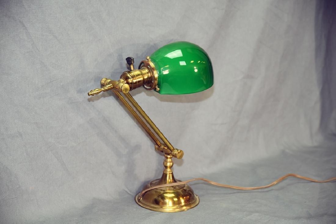 Vintage Brass Desk Lamp Green Glass Shade - 4