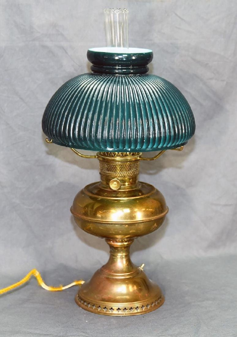 Vintage Brass Desk Lamp Green Glass Shade