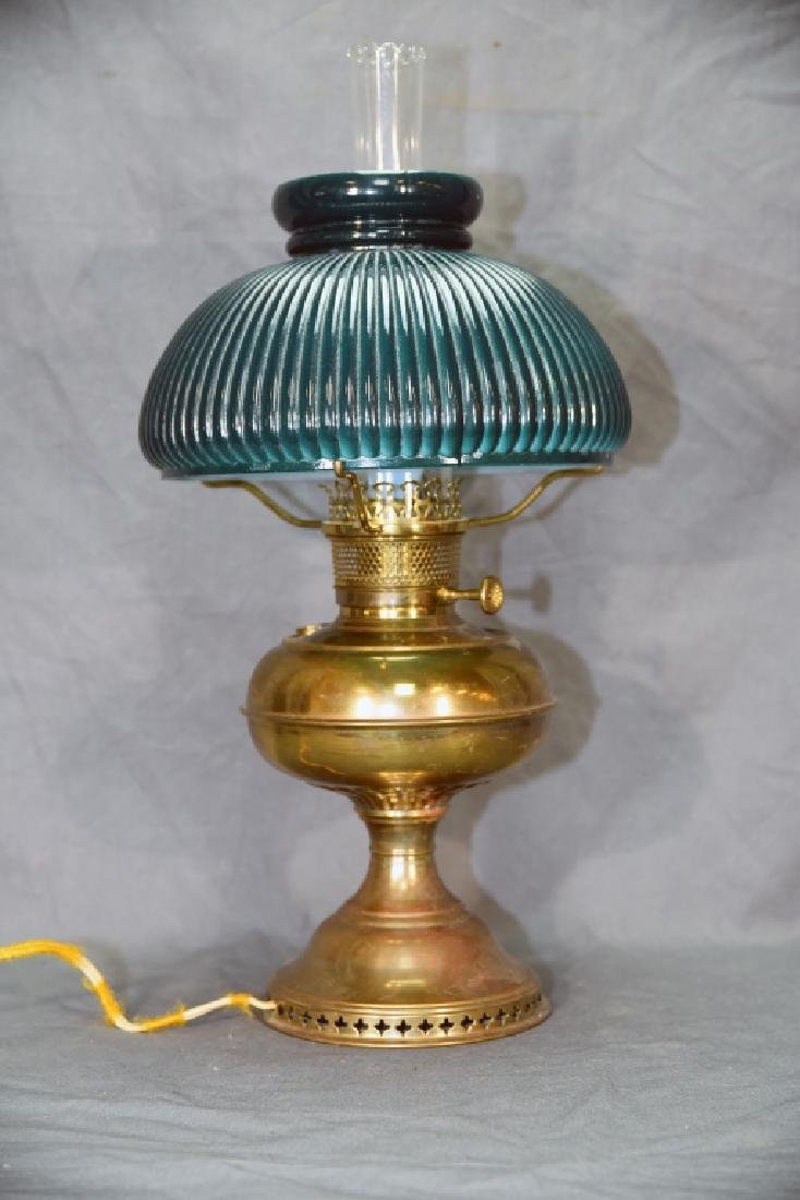 Vintage Brass Desk Lamp Green Glass Shade - 4