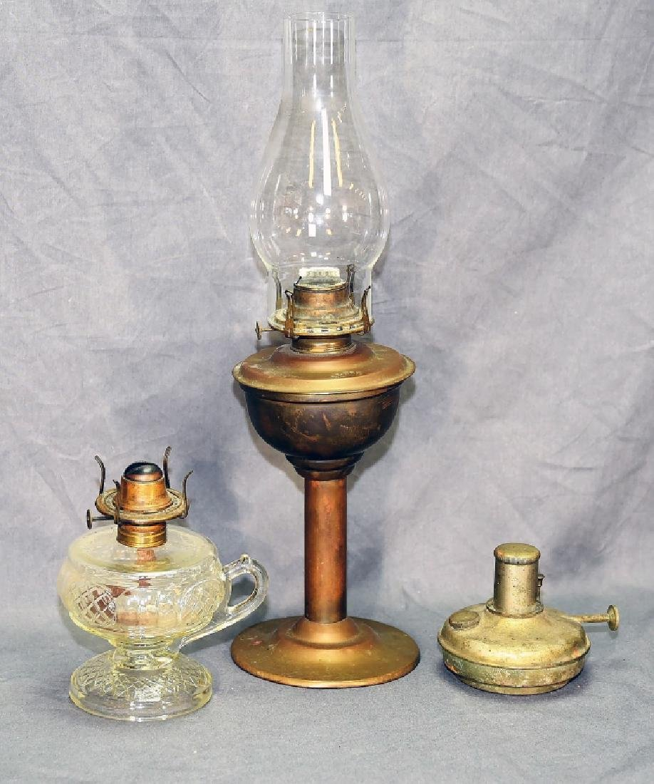 3 Brass and Glass Antique Oil Lamps