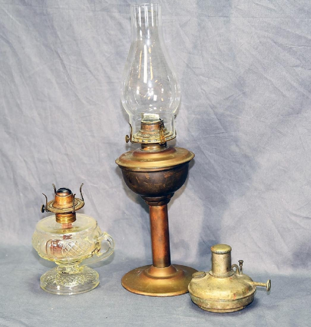 3 Brass and Glass Antique Oil Lamps - 3