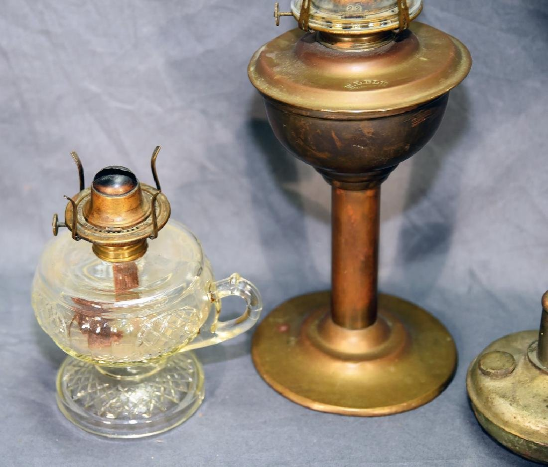 3 Brass and Glass Antique Oil Lamps - 5