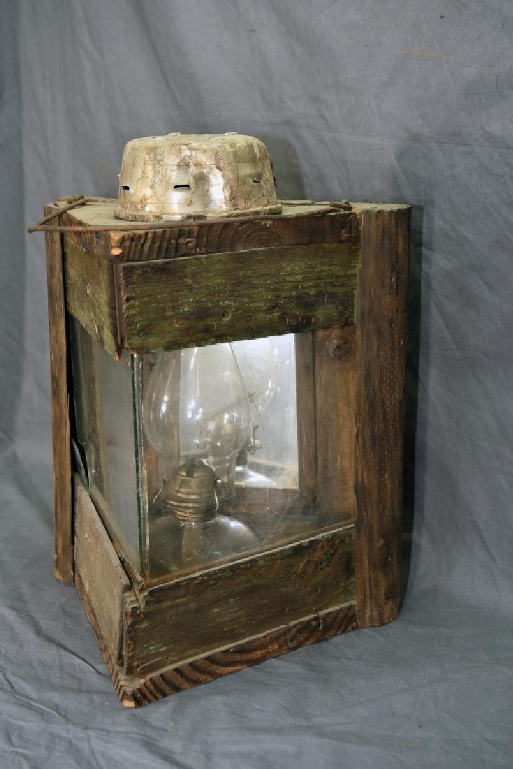 Primitive 3 Sided Duck Hunting Lantern w/ Oil Lamp - 3