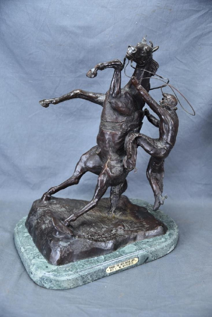 """Charles Russel """"Where The Best Rider Quit"""" Bronze"""