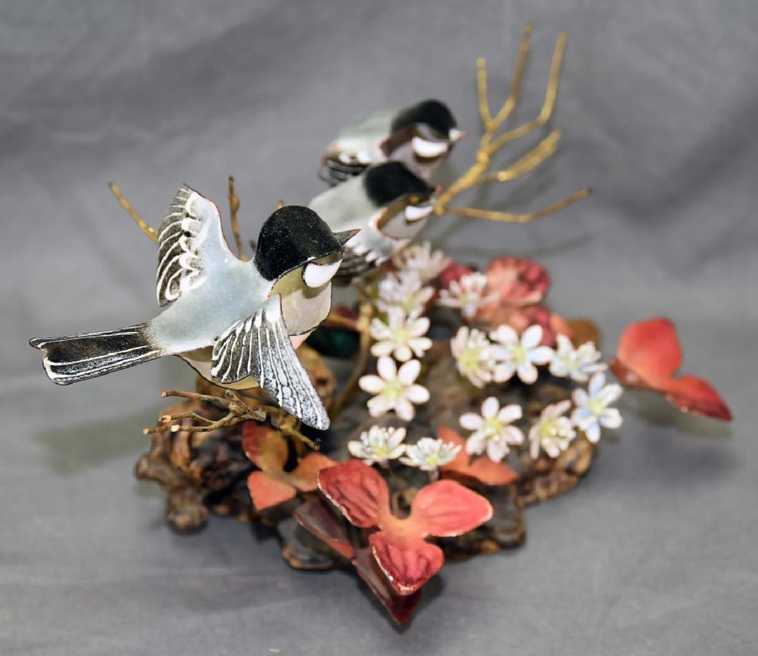 Norman Brumm Copper Enamel 3 Chickadee Sculpture - 6