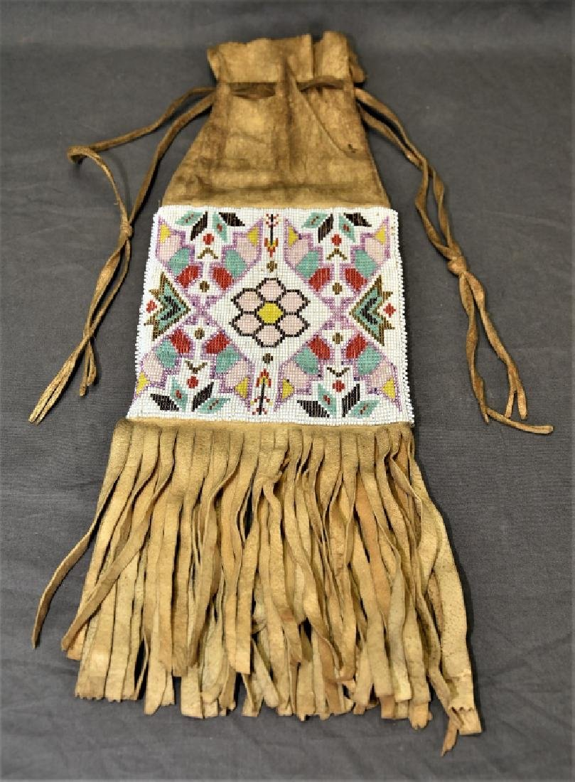 Native American Beaded Buckskin Bag