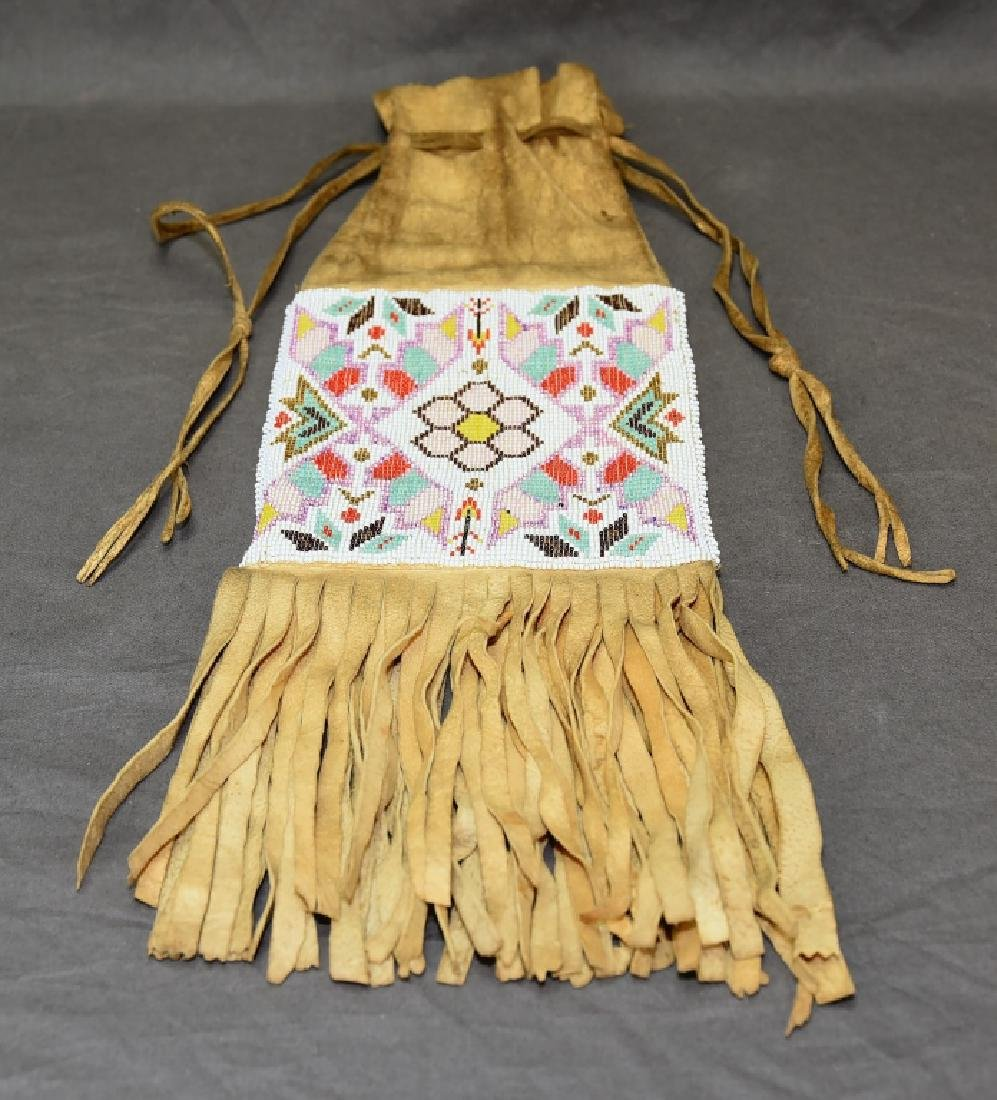 Native American Beaded Buckskin Bag - 2