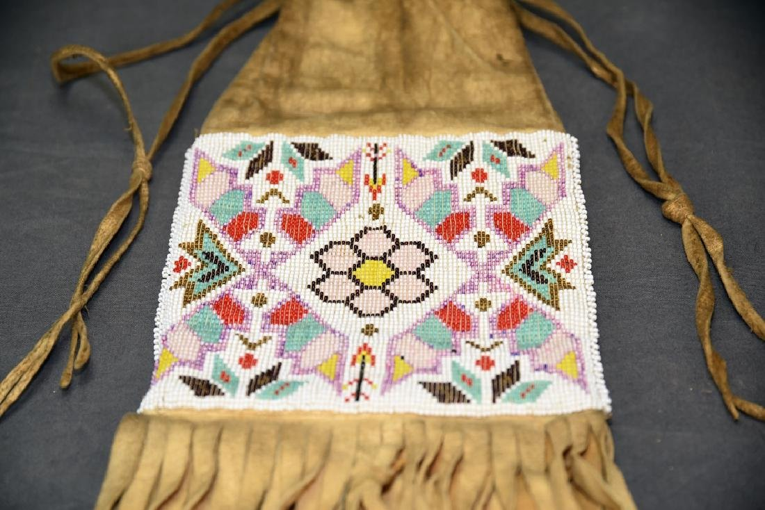 Native American Beaded Buckskin Bag - 3