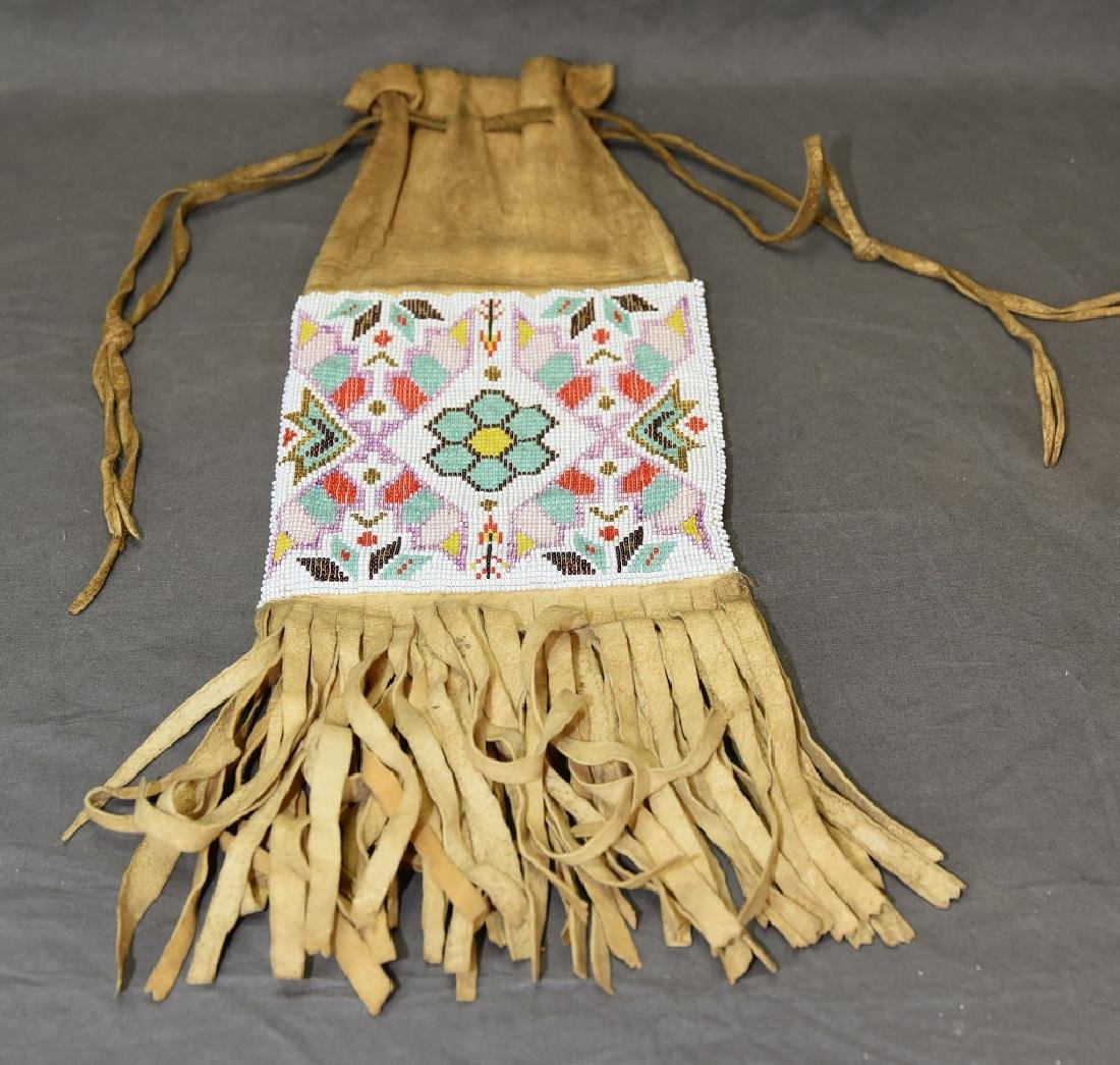 Native American Beaded Buckskin Bag - 6