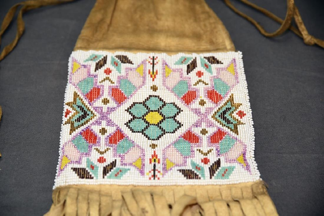 Native American Beaded Buckskin Bag - 7