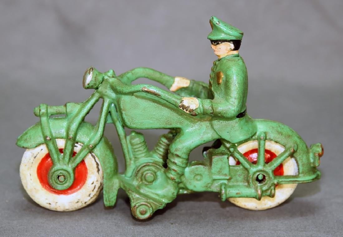 Cast Iron Motorcycle Policeman Toy