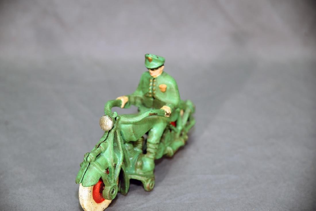 Cast Iron Motorcycle Policeman Toy - 2