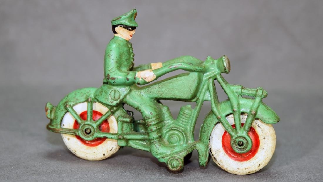 Cast Iron Motorcycle Policeman Toy - 5