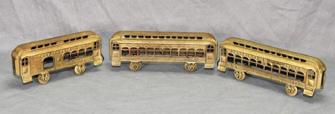 3 Cast Metal Pennsylvania Lines Toy Train Cars
