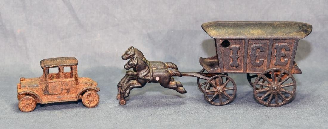 2 Cast Iron Toys - Ice Wagon and Toy Car