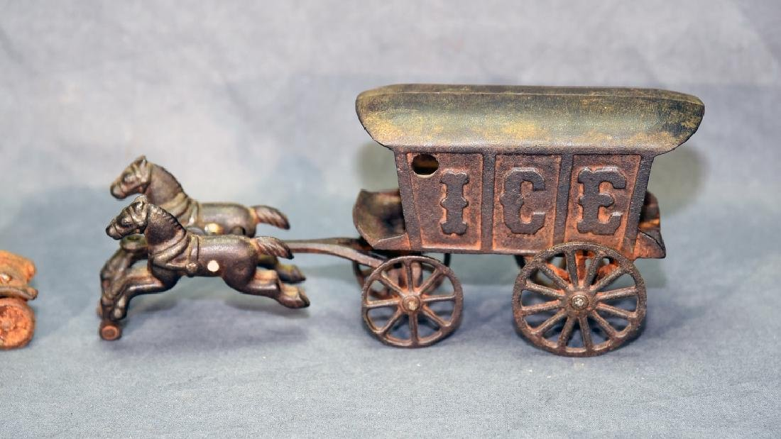 2 Cast Iron Toys - Ice Wagon and Toy Car - 2