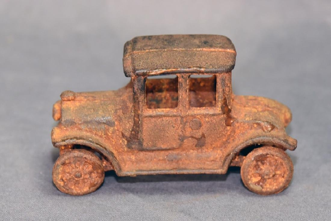 2 Cast Iron Toys - Ice Wagon and Toy Car - 3