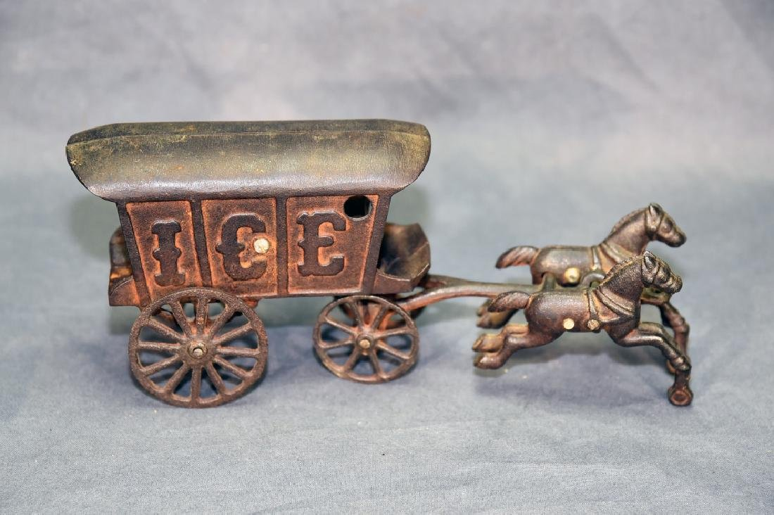 2 Cast Iron Toys - Ice Wagon and Toy Car - 4