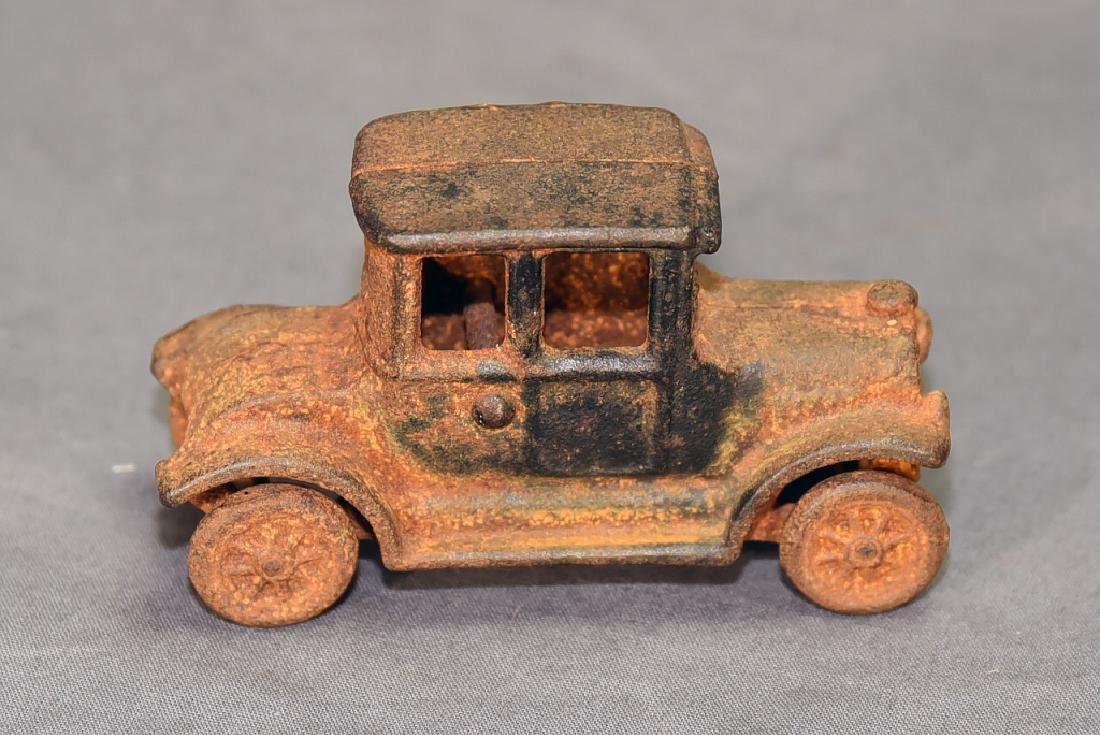 2 Cast Iron Toys - Ice Wagon and Toy Car - 5