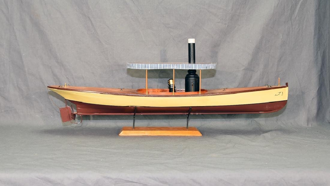 Steam Powered Model Runabout Boat on Stand - 2