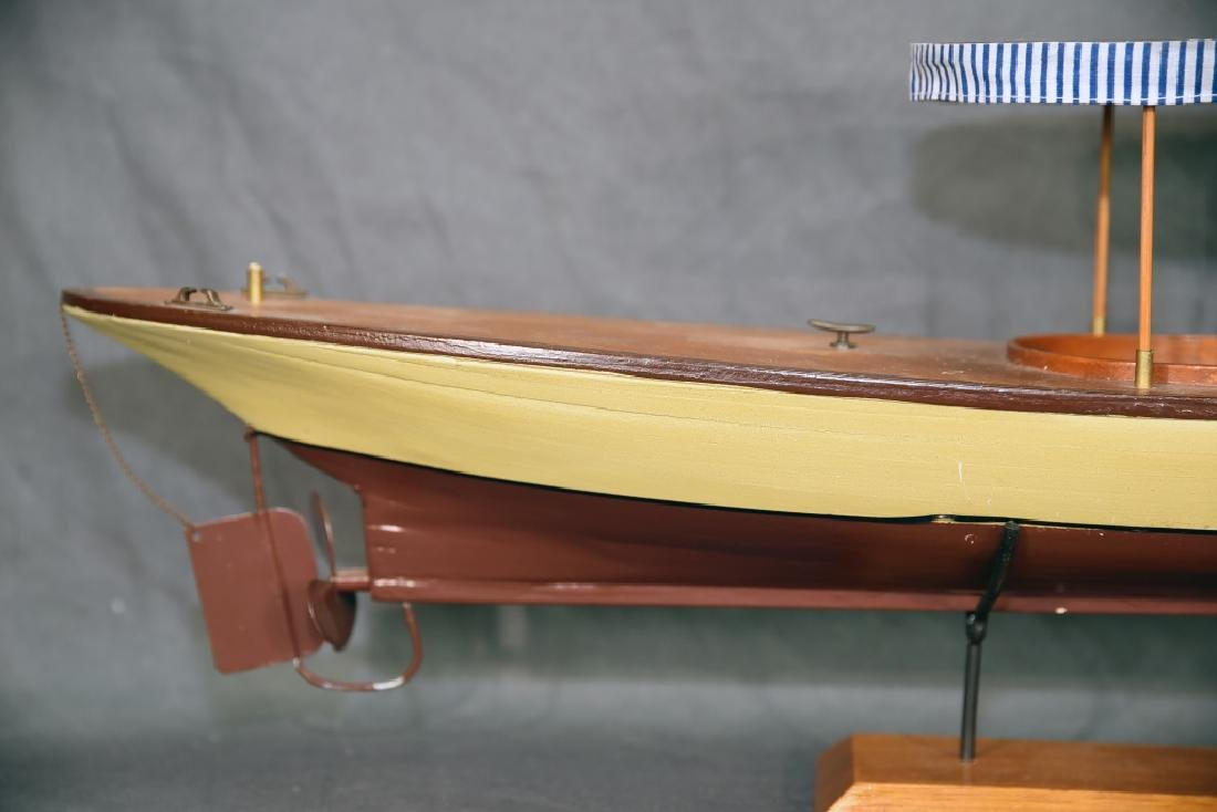 Steam Powered Model Runabout Boat on Stand - 4