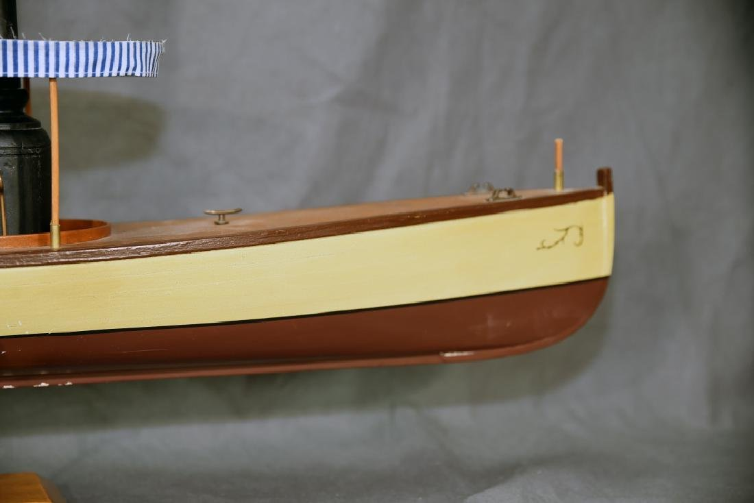 Steam Powered Model Runabout Boat on Stand - 5
