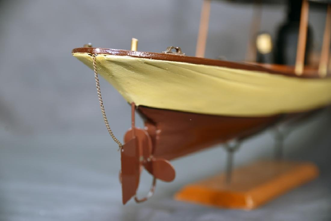 Steam Powered Model Runabout Boat on Stand - 6