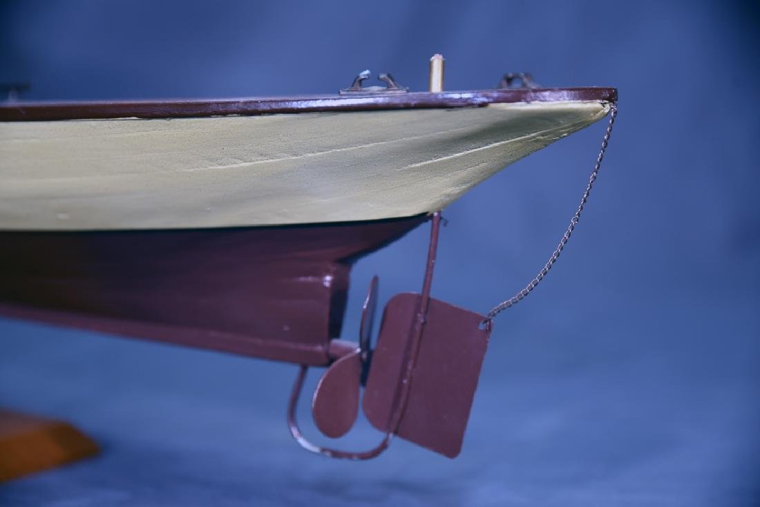 Steam Powered Model Runabout Boat on Stand - 7