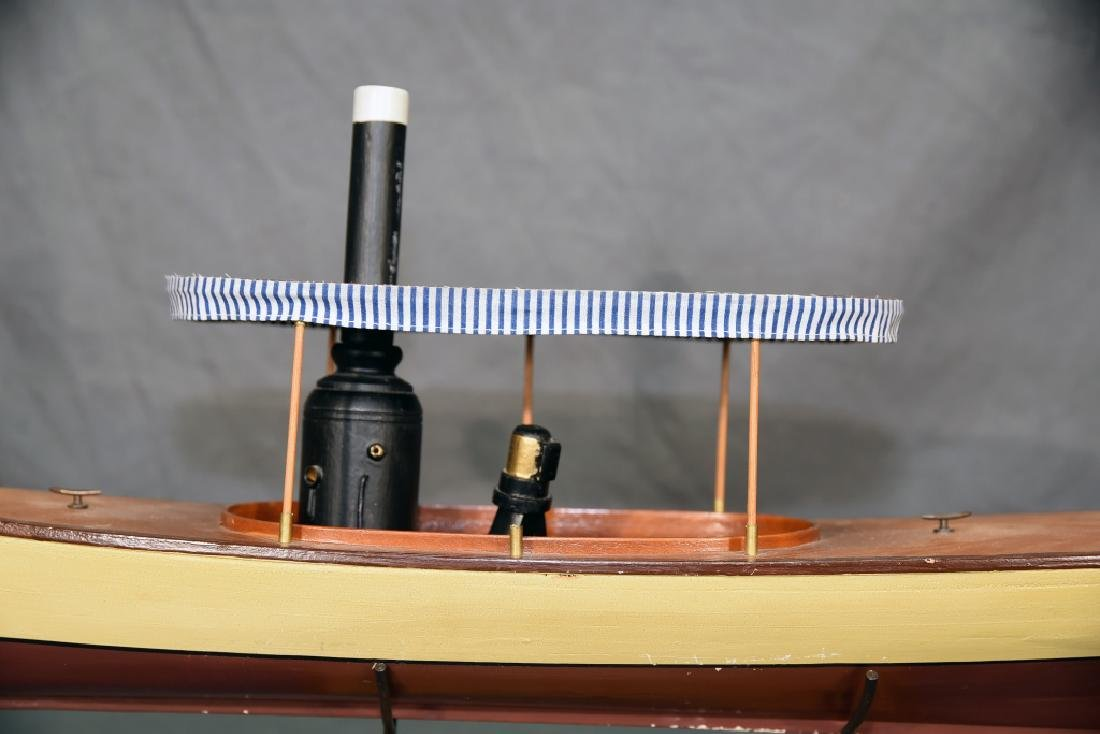 Steam Powered Model Runabout Boat on Stand - 8