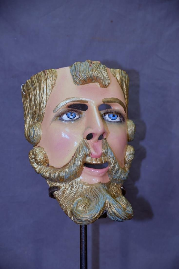 Carved Polychrome Wooden Mask - 2