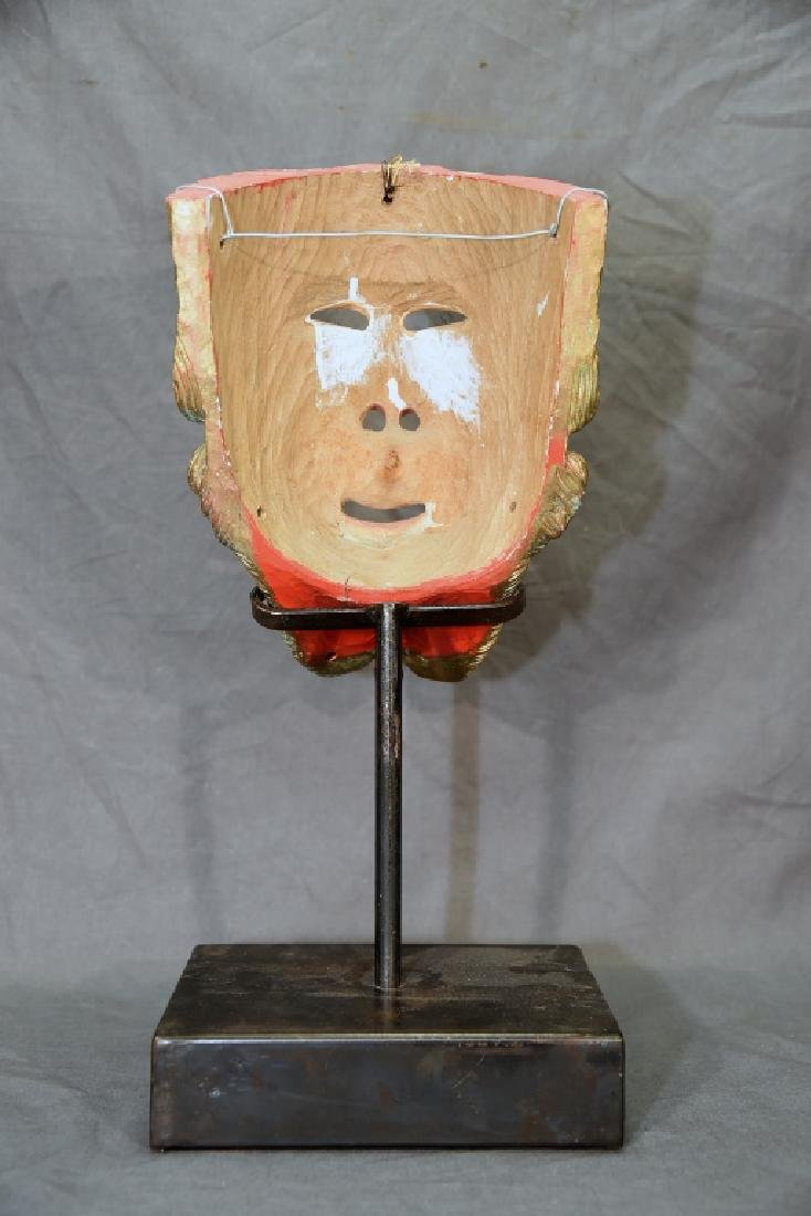 Carved Polychrome Wooden Mask - 8