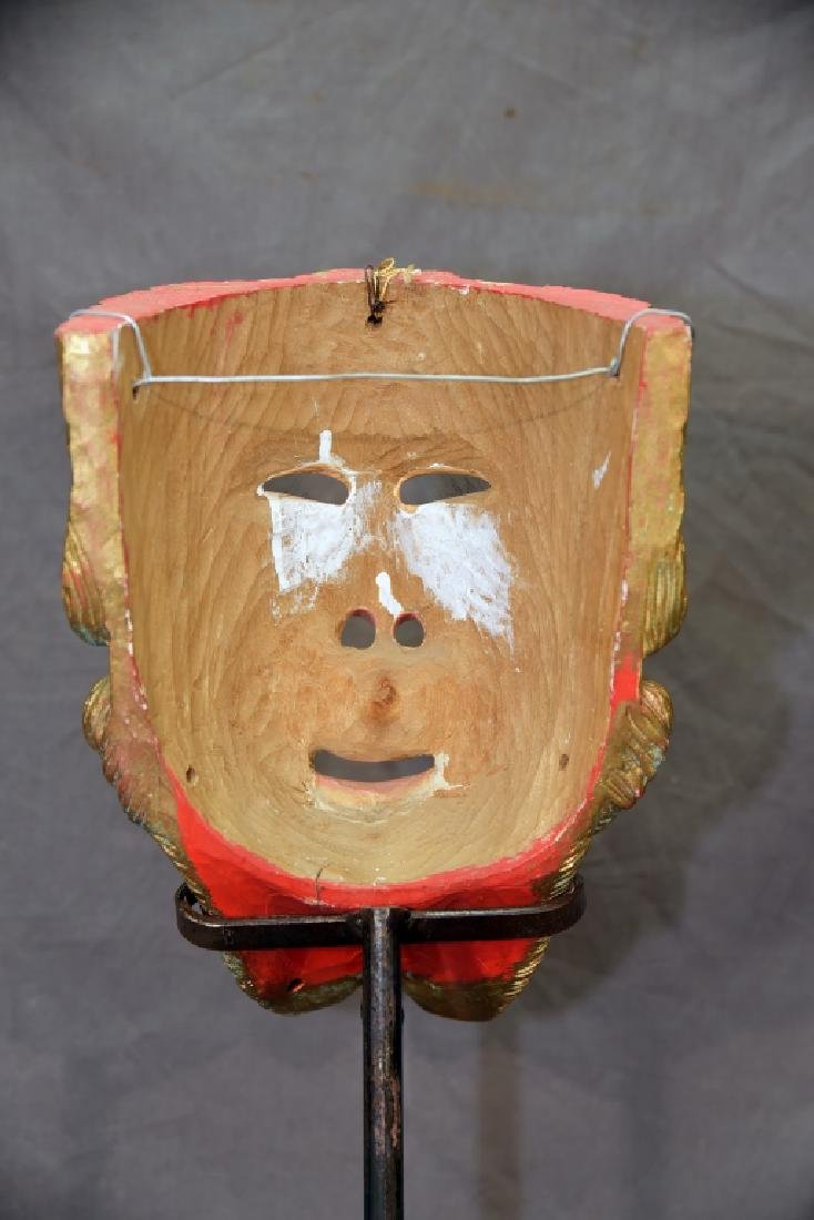 Carved Polychrome Wooden Mask - 9
