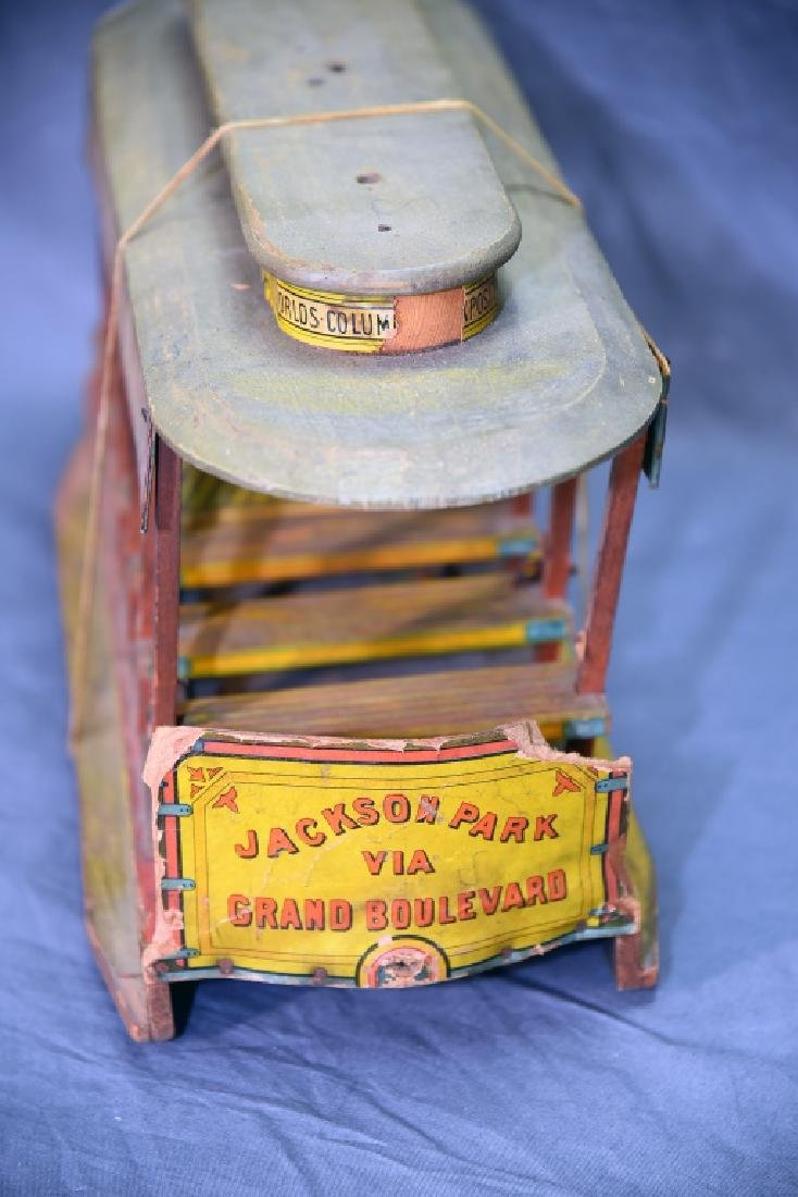 Bliss Jackson Park Paper Litho on Wood  Trolley Car - 10