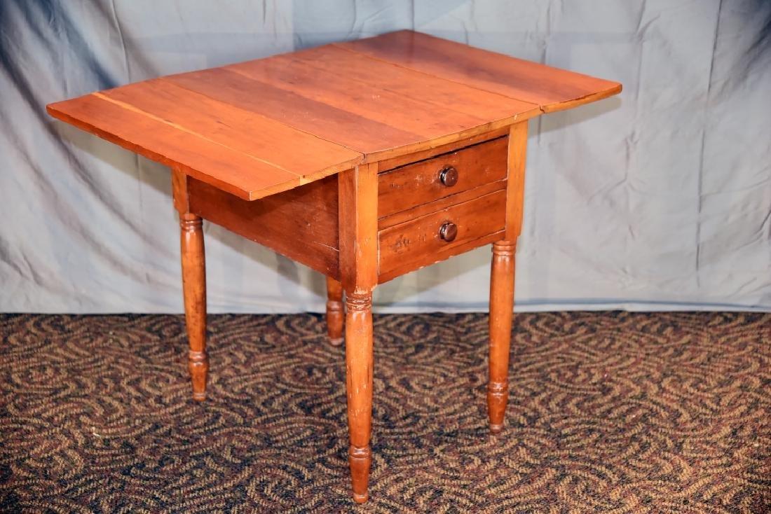 Cherry 2 Drawer Drop Leaf End Table - 4