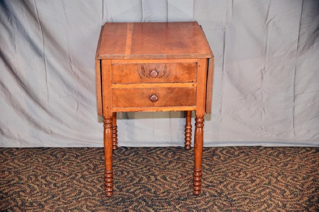 Cherry 2 Drawer Drop Leaf End Table