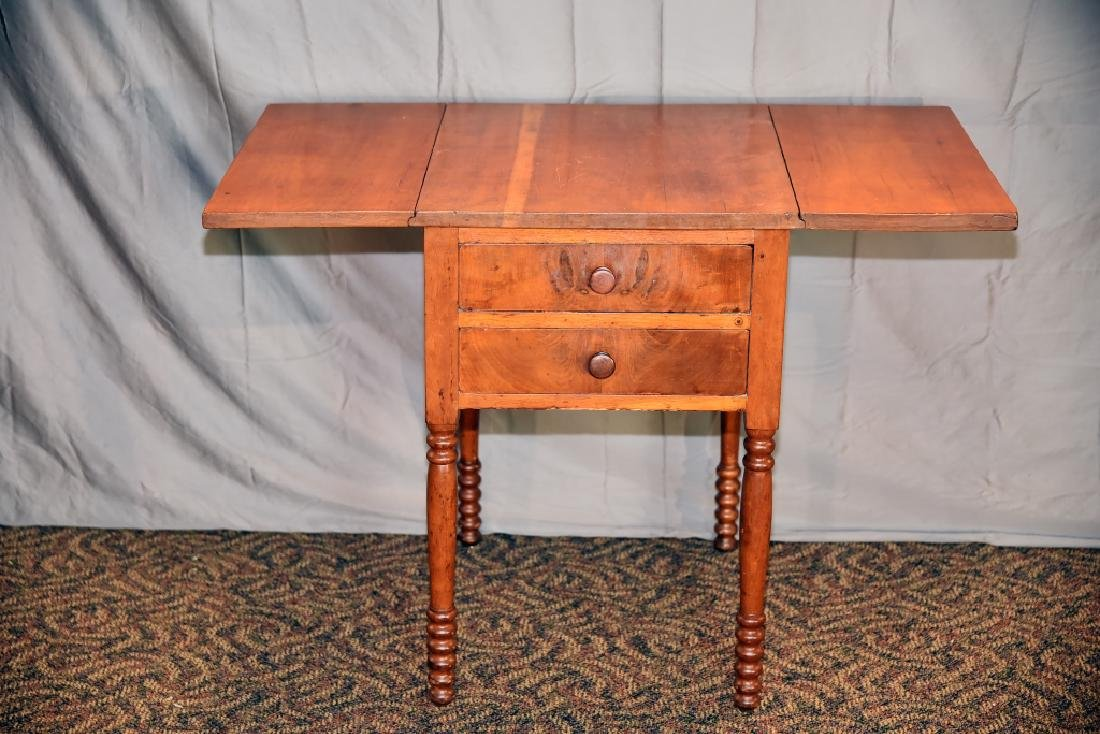 Cherry 2 Drawer Drop Leaf End Table - 2