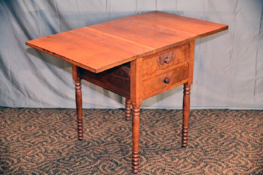 Cherry 2 Drawer Drop Leaf End Table - 4