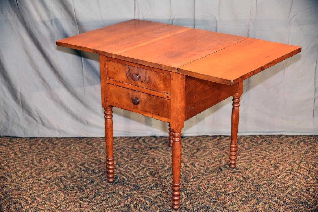 Cherry 2 Drawer Drop Leaf End Table - 8